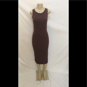 TOPSHOP Size 6 Sleeveless Plum Color Midi Dress
